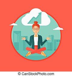 affari donna, yoga., pacifico