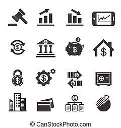 affari, e, finanza, icona