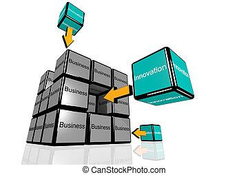 affari, e, innovazione, symbolized, con, volare, cubi