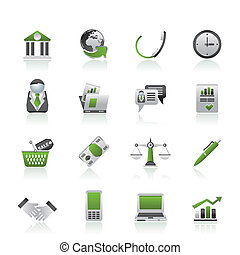 affari, e, oggetti ufficio, icone
