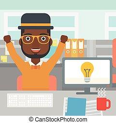 affari, eccitato, idea., creativo, detenere, uomo