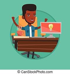affari, eccitato, idea., uomo affari, creativo, detenere