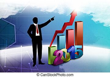 affari, esposizione, crescita, anno, uomo nuovo