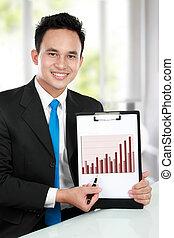 affari, esposizione, grafico, giovane, crescita, uomo