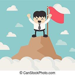 affari, esposizione, waving., delizia, bandiera, collina, maschio, cima, rosso, uomo