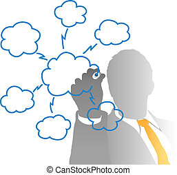 affari, esso, direttore, disegno, nuvola, calcolare, grafico