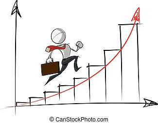 affari, exponential, persone, semplice, -, grafico, crescita