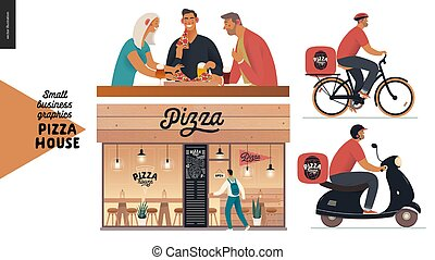affari, facciata, ristorante, consegna, grafica, -, casa, pizza, visitatori, piccolo