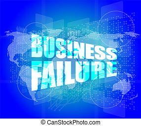 affari, fallimento, su, digitale, schermo tocco