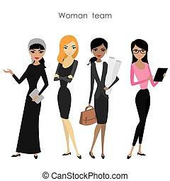 affari, femmina, set, squadra, quattro, donna, cartone animato