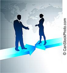 affari, fili, comunicazioni, con, mappa mondo