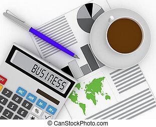 affari, finanza, e, contabilità, concetto, ., 3d, reso, illustrazione