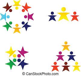 affari, folla, persone, astratto, isolato, squadra, bianco, o