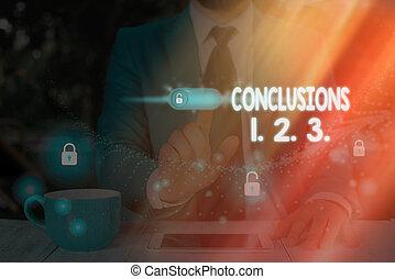 affari, foto, 3.., esposizione, elenchi, 1., scrittura, testo, presumptions., concettuale, 2., mano, suppositions, conclusions, numeri