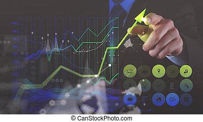 affari, foto, schermo, grafico, virtuale, mano,  computer, doppio, tocco, uomo affari, disegno, esposizione
