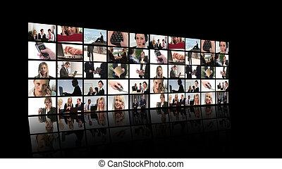 affari, fotomontaggio, di, persone, lavorativo