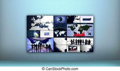 affari, fotomontaggio, fondo, terra, e, grafici, animazione, interpretazione, cappio, 4k