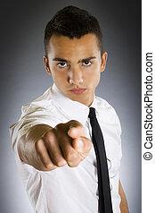 affari, giovane, indicare, uomo