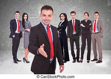affari, giovane, squadra, dare benvenuto