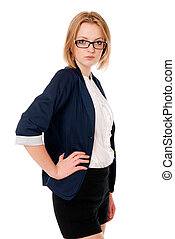 affari, glasses., mano, ritratto, belt., donne