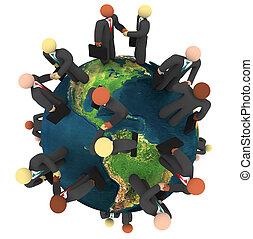 affari, globale, -, dai carte, strette mano, internazionale