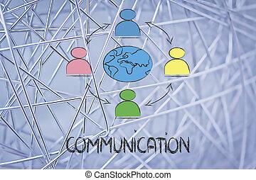 affari globali, comunicazione, persone, collegato, attraverso, globo