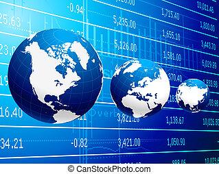 affari globali, e, economia, astratto, fondo
