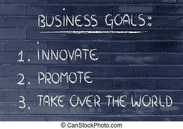 affari, goals:, sopra, elenco, promuovere, prendere,...
