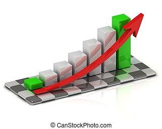 affari, grafico, con, verde, barre, a, il, inizio, e, fine