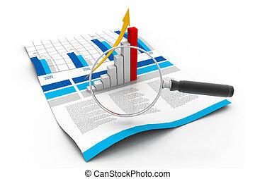 affari, grafico, e, lente ingrandimento