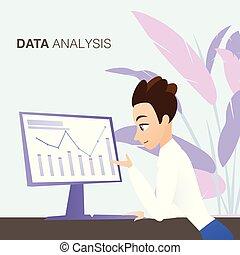 affari, grafico, giovane, analisi, dall'aspetto, dati, uomo
