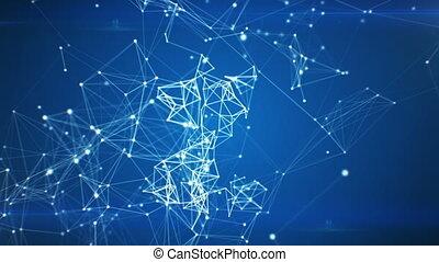affari, grafico, icona, apparire, in, rete, nuvola, da, linee, e, dots., simbolo, formare, da, particles., collegato, 3d, animation., cappio, da, 100, a, 500, frames., affari tecnologia, concept., 4k, uhd, 3840x2160.