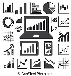 affari, grafico, icona, set