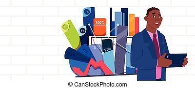 affari, grafico, sopra, tabelle, astratto, presentazione, americano, stare in piedi, presa a terra, africano, relazione, uomo affari, riunione, o, seminario, uomo