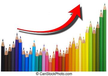 affari, grafico, successo, mostra