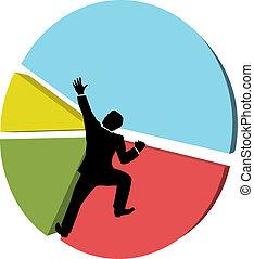 affari, grande, azione, portate, mercato, uomo