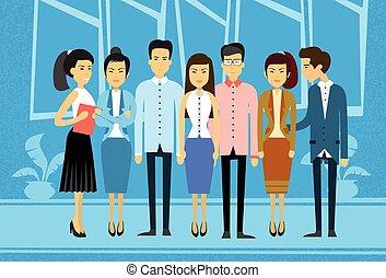 affari, gruppo, asiatico, persone ufficio