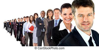 affari, gruppo, fila, isolato, sopra, uno, sfondo bianco