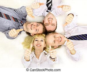 affari, gruppo, riunione, ritratto