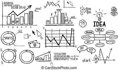affari, hand-drawn, finanza, elements.