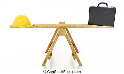 affari, -, illustrazione, trave, cavalletto, costruzione, equilibratura, 3d