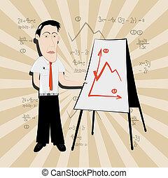 affari, -, illustrazione, vettore, insegnante, uomo
