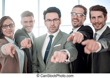 affari, indicare, diverso, squadra, lei, sorridente