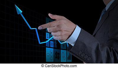affari, indicare, schermo, grafico, virtuale, mano,  computer, tocco, uomo affari,  3D