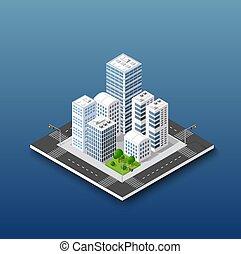 affari, infrastruttura, isometrico, concetto, urbano, città