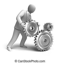 affari, ingegneria, in, progresso