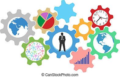 affari, ingranaggi, occupato, persona, lavoro