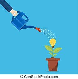 affari, irrigazione, idea, mano, persona, albero.