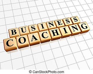affari, istruire, in, dorato, cubi
