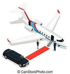 affari, jet., jet, verso, terminal., pilota, bussines, ...